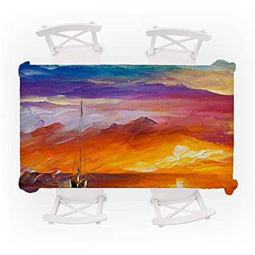 Mantel De Impresión De Pintura Al Óleo Simple Moderno, Impermeable Y Anti-Escaldado, Mantel Rectangular para Mesa De Café