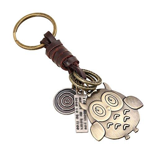 Qinlee Hibou Porte-clés Sac à Dos Pendentif décoration Métal Et Cuir Charme Claus Trousseau Size 11 * 4.5 * 4CM (Hibou)