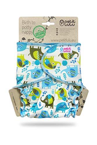 Petit Lulu Maxi NachtWindel | Höschenwindel (7-16 kg) Druckknöpfe | Fluffy Organic | Bambus natürliche wiederverwendbare Stoffwindeln | Ohne Polyester (Kleine Elefanten)