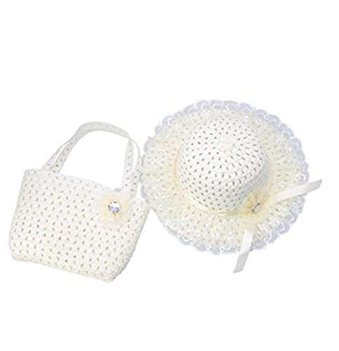 Jiuhexu Kids Straw Sun Hat Handbag Sets Children Beach Caps Prop Outfit 9Colors (Beige)