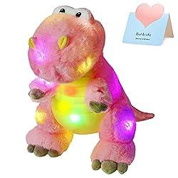 1. Houwsbaby LED Glowing Pink T-Rex Light Up Dinosaur Plush