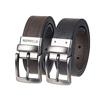 Columbia Men's Reversible Leather Belt - Casual for Men's Jeans with Double Sided Strap, Dark Brown/Deep Black, 42