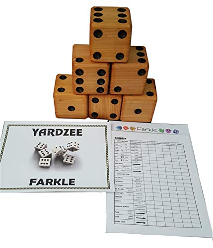 YARDZEE FARKLE Huge Big Giant Yard Dice of Carved Cedar (No Bucket )