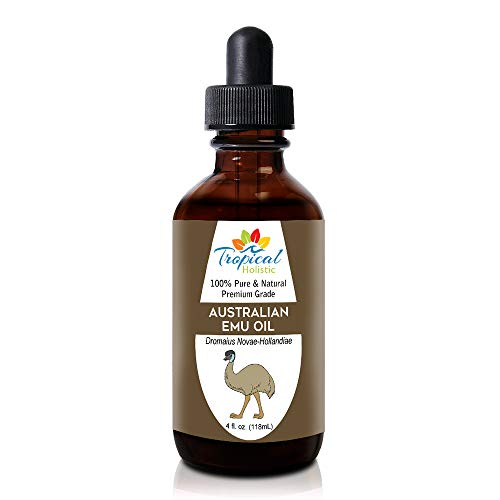 100% Pure Australian Fully Refined Emu Oil 4 oz - Grade A Premium Undiluted Natural Moisturizer For Skin, Hair Growth, Piercings, Scars, Face, Feet, Nails, Pain Relief, Joint by Tropical Holistic