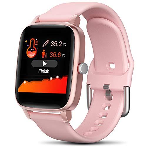 LEDM Reloj Inteligente, medición de la Temperatura Corporal, frecuencia cardíaca, Monitor de presión Arterial, Pulsera de Seguimiento de Actividad de calorías del sueño Impermeable Ip67,Rosado