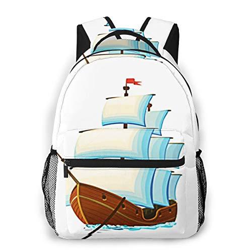 Laptop Rucksack Schulrucksack Piraten Segelschiff Segel, 14 Zoll Reise Daypack Wasserdicht für Arbeit Business Schule Männer Frauen