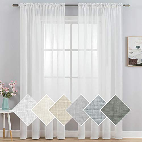 """MIULEE 2 Panels 90 Inch Natural Linen Semi White Sheer Window Curtains Elegant Solid Drapes Rod Pocket Window Voile Panels Linen Textured Panels for Bedroom Living Room (52"""" W X 90"""" L)"""