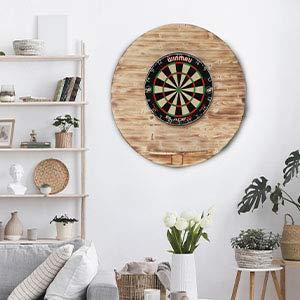 RUNSTYLE Darts Sports Dartboard Surround | Deluxe Design Holz Dart-Wandschutz & Tablet-Halter | (Catchring, Dart Umrandung) (Fire Design (Geflammt), Universal:Tablet - Halter (Geflammt))