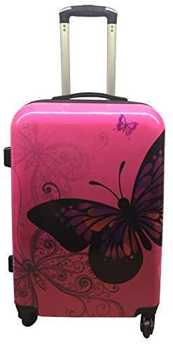 Hard Shell 4Wheel Suitcase PC Luggage Trolley Case Cabin Hand Butterfly Rose (Medium 24')