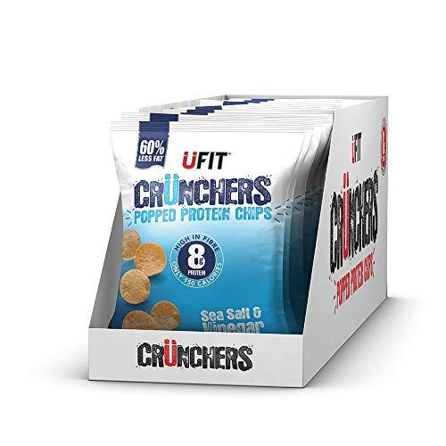 UFIT Crunchers Popped Chips, High Protein Healthy Crisps - Sea Salt & Vinegar Flavour (Box of 11 x 35g)