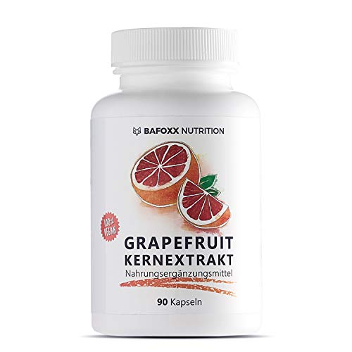 BAFOXX Nutrition® Grapefruitkernextrakt Kapseln hochdosiert - 90 Stück für 3 Monate - Naturprodukt mit 45% Flavonoide aus GKE Extrakt - vegan und ohne Zusatzstoffe - deutsche Markenqualität