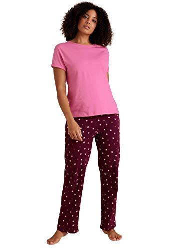 Marks and Spencer Women's Pure Cotton Polka Dot Short Sleeve Long Pant Pajama Set, Purple Mix, M