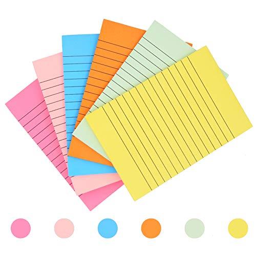 Lot de 6 blocs-notes adhésifs lignés, fournitures scolaires et de bureau, 10,2x 15,2cm, 6 couleurs, 50 feuilles