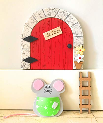 Puerta ratoncito Pérez MADERA ROJA QUE SE ABRE + escalera + ratón...