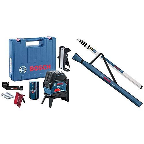 Bosch Professional Kreuzlinienlaser GCL 2-50 (5x AA Batterien, Arbeitsbereich: 50m, im Handwerkerkoffer) & 0601094300 GR 500 Prof Teleskop-Nivellierlatte