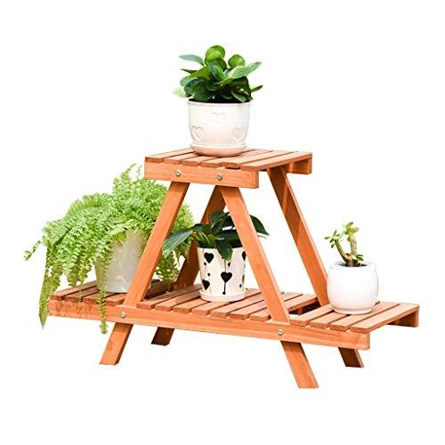 2 niveaux en bois fleurs Stand jardin Patio plante debout fleur pot Rack décoratif présentoir support fleur Pot étagère - intérieur/extérieur - bois couleur - L51 * D26 * H45cm