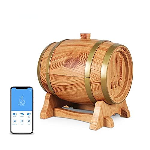Smart App Houtnerf Wijnvat Geurverspreider Elektrische etherische olie Luchtbevochtiger met Bluetooth-luidspreker Auto off Diffusor,Light wood