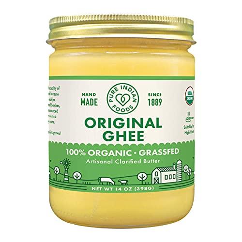 Pure Indian Foods Organic Grassfed Original Ghee, 14 oz, Pasture Raised, Gluten-Free, Non-GMO, Paleo, Keto-Friendly (16 fl oz / 1 pint)