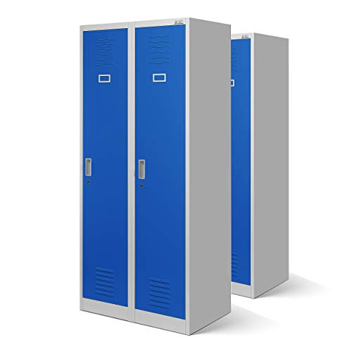Jan Nowak by Domator24 2er Set Garderobenschrank Stahlspind Spind Kleiderspind Doppelspind 2 Abteile Flügeltüren Trennwand Pulverbeschichtung 180 cm x 80 cm x 50 cm(H x B x T) (grau/blau)