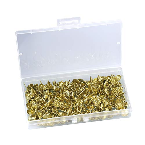 Antike Polsternägel Dekorative Möbel Reißnägel Set Thumb Tack Push Pins DIY 11 * 16 MM / 0,43 * 0,62 zoll Nailhead Blumenmuster Kopf Nagel (Gold Set von 200 STÜCKE)