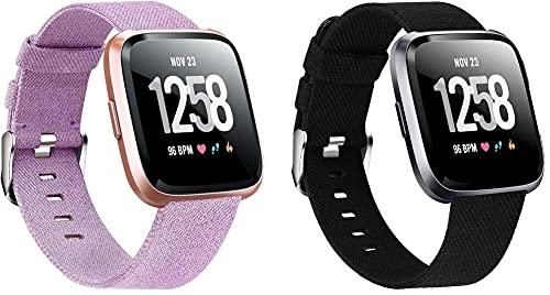 Gransho Correa de Reloj Compatible con Fitbit Versa 2 / Versa 2 SE/Versa Lite/Versa smartwatch, Lienzo Correa Relojes del ejército (2-Pack H)
