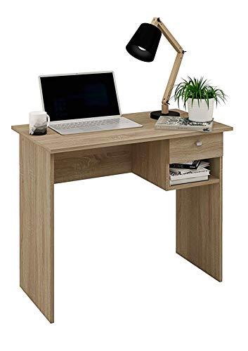 Weißer Schreibtisch mit Schublade und Buchschiene, 90 cm breit