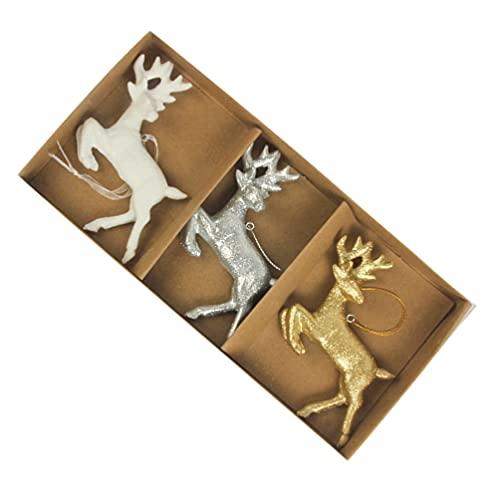 ABOOFAN 3 adornos de reno para árbol de Navidad de resina nórdica, figuras de reno,...