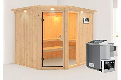 Fiona 3 - Karibu Sauna SPARSET inkl. 9 kW Bio-Ofen, Dachkranz, Leuchte, Zubehör-Set