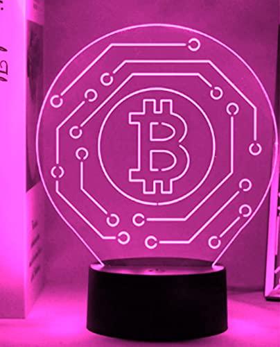 3D LED lámparas Bitcoin ilusion optica luz de noche 7 colores Contacto Arte Escultura luces con cables USB Lampara Decoracion Dormitorio escritorio mesa para niños adultos
