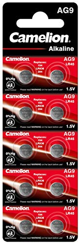 Camelion 12051009 Alkaline Knopfzellen ohne Quecksilber AG9/LR45/LR936/394/1,5 Volt, 10er-Pack