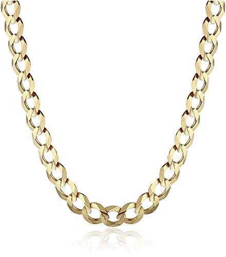 Catena a maglia barbazzale in oro 14 carati / 585, catenina spessa in oro giallo, larghezza: 6,60mm. e Oro giallo, cod. 14-cuban
