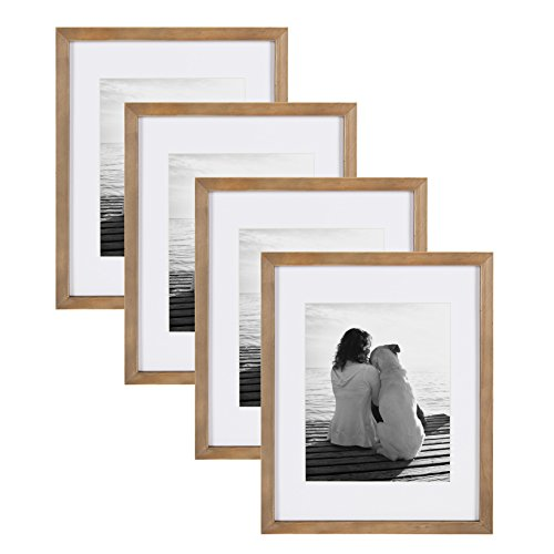 DesignOvation Gallery 11x14 matted to 8x10 Wood Picture Frame, Set of 4, Rustic Brown, 4 Count