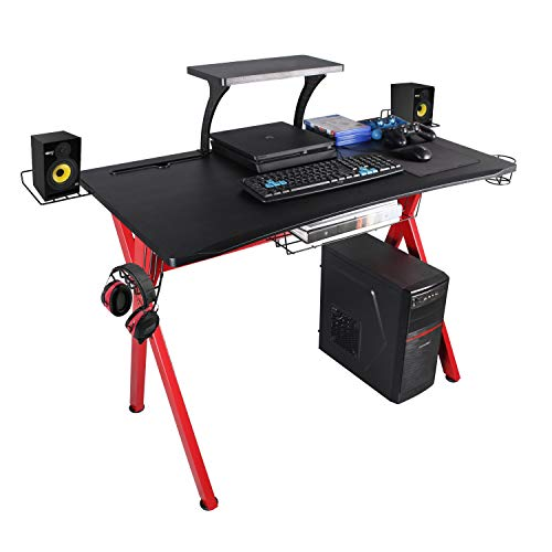 """Lazzo Stylish 41.7"""" Multifunction Computer Gaming Desk Music Workstation With Removable Display Support Plate,Cup Holder and Headphone Hook,Storage Basket,For Home Office Bedroom,Red & Black 41""""x23.5"""""""