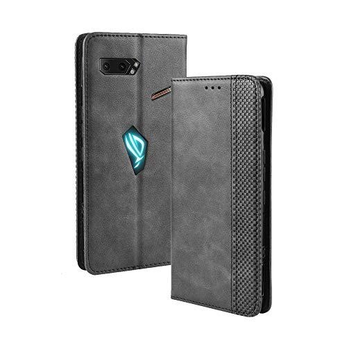 SPAK Asus ROG Phone II Hülle,Premium Leder Geldbörse Flip Schutzhülle mit Magnetschnalle Cover für Asus ROG Phone II (Schwarz)