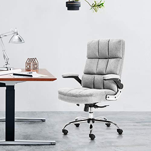 SP Velvet Office Chair Adjustable Tilt Angle and Flip-up Arms Executive Computer Desk Chair, Thick Padding for Comfort and Ergonomic Design for Lumbar Support (3288GY)