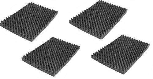 Noppenschaumstoff, Akustik Schaumstoff, Akustikschaumstoff, Dämmung für Tonstudio, Youtube room, In Deutschland hergestellt (500 mm x 350 mm x 50 mm) (groß, 4x Selbstklebend Noppenschaum)