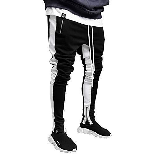 VANVENE - Pantalones de chándal para hombre, ajustados, bolsillos con cremallera, pantalones deportivos, gimnasio, pantalones de chándal, talla L - 2XL