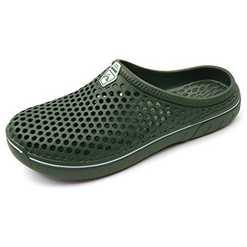 Amoji Unisex Garden Clogs Gardening Crocks Shower Shoes Slippers Quick Dry Summer Walking AM161 ArmyGreen 16-17 Women/14-15 Men