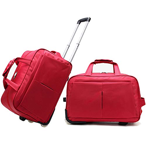 BCXS Holdall with Wheels Small Suitcase, Carry on Luggage Holdall with Wheels, Soft Shell Onboard Luggage with Drag Handle Fits (Carry-On, Under-Seat),Red,24in