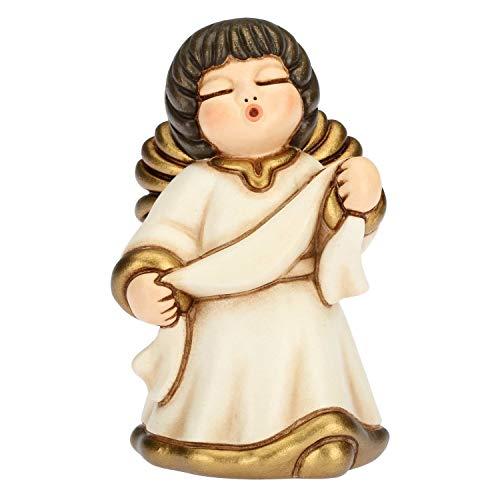 THUN® - Angelo dell'Annunciazione con Targhetta - Veste Bianca - Statuine Presepe Classico - Ceramica - I Classici