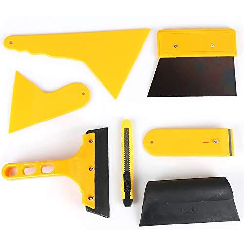 fuxunamz 7 In 1 Rakel Set, Hard PP Folienrakel, Gummi Faserrand Rakel, Folierungs Werkzeugset für Autofolie/Tönungsfolie/Sonnenschutzfolie Installation, auch Wandtattoo Tapeten Aufschriften