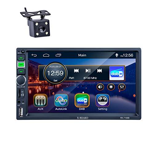 Radio Coche 2 DIN, REAKOSOUND Radio 7 Pulgadas Pantalla Táctil Bluetooth, Autoradio Soporte Radio Dab+ /FM/USB/SD/AUX IN/SWC con cámara de visión Trasera y Antena Dab+