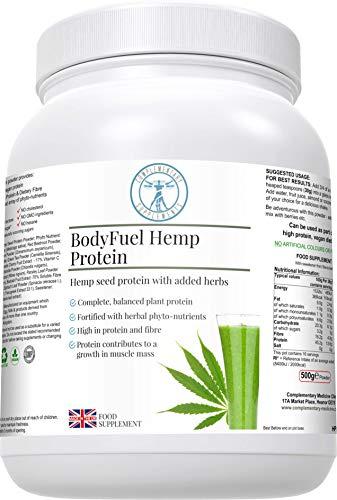 BodyFuel Hemp Protein +15 Superfoods   Raw & Vegan   500g Powder   Made in The UK   NO GMOs