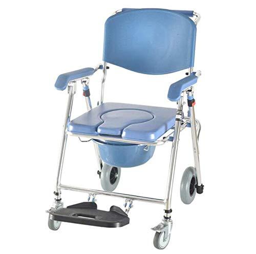 WLKQ Medical Fahrbar Toilettenrollstuhl Toilettenstuhl Nachtstuhl Dusch Badehilfen Duschstuhl mit Armlehne und Rückenlehne, Mobilitätshilfe ür ältere Senioren, Behinderte