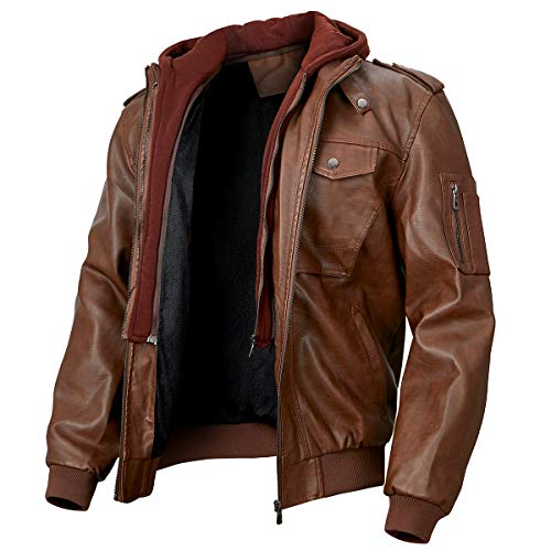 MANSDOUR Men's Faux Leather Jacket Winter Fleece Lined Biker Motorcycle Bomber Jacket with Removable Hood