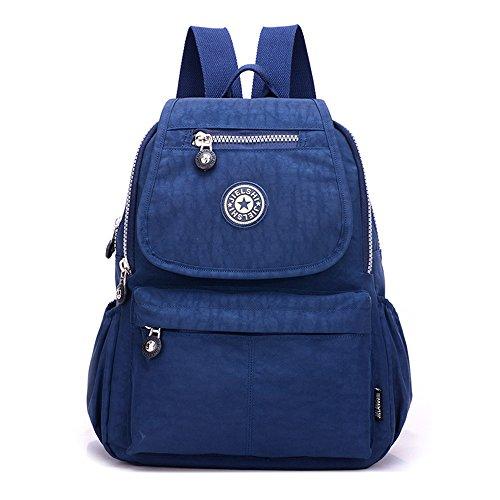 Borsa da donna piccola in nylon a spalla casual Day Pack multi-tasca casual impermeabile nylon borse viaggio scuola portatile zaino (blu navy)