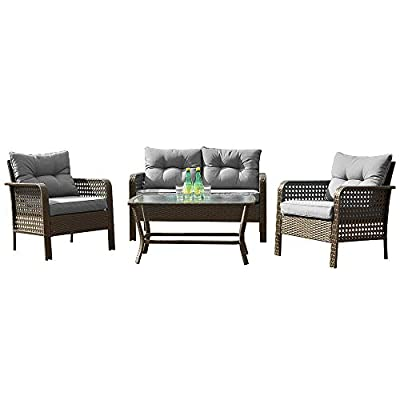 Patio PE Wicker Furniture Set 4 Pieces,All Weather Patio Conversation Sets of 2 Single Sofas,1 Loveseat and Tempered Glass Table Top,Outdoor Chat Set Conversation Set for Backyard Yard,Garden (Grey)
