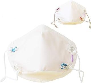 メープルマスク 日本製 2枚組 3D立体型 大きめ 花粉対策 布 ガーゼ メンソール付 メープルB(クリーム2枚, ゴム紐フラワー)
