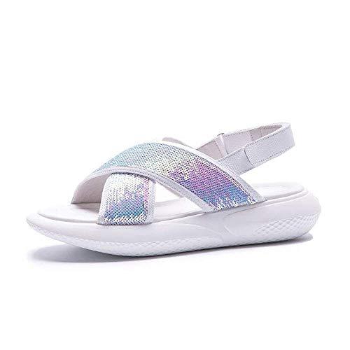 JSONA 2019 Nuevo Verano Tacones de cuña Sandalias de Mujer Punta Abierta Zapatos de Plataforma con Cabeza de pez Tacones Altos Zapatos de Mujer Zapatillas de Playa para Mujer (Color: Blanco, Tamañ