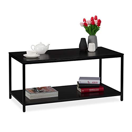 Relaxdays Couchtisch mit Ablage, rechteckig, Metallgestell, Sofa Beistelltisch, modern, HBT 46 x 100 x 50,5 cm, schwarz